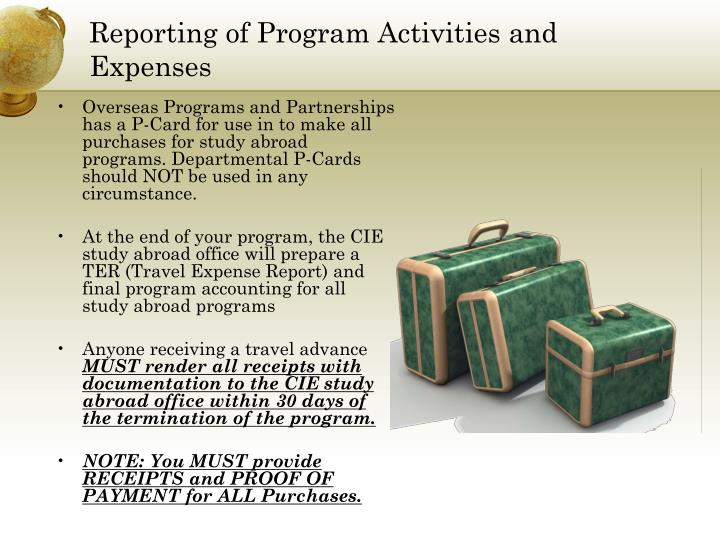 Reporting of Program Activities and Expenses