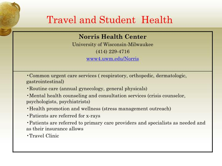 Travel and Student  Health