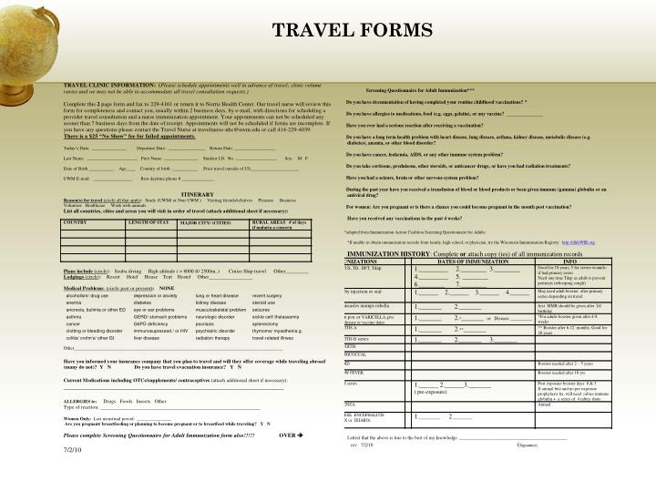 TRAVEL FORMS