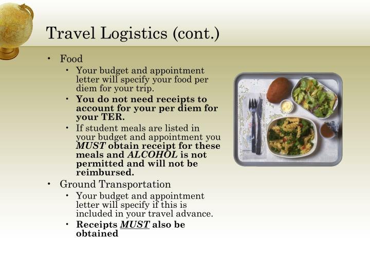 Travel Logistics (cont.)