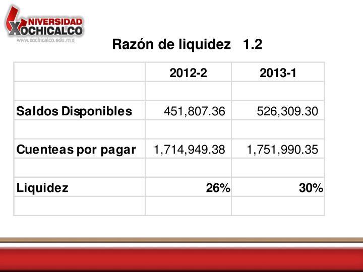 Razón de liquidez   1.2