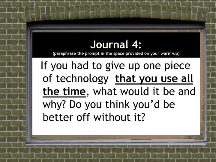 Journal 4: