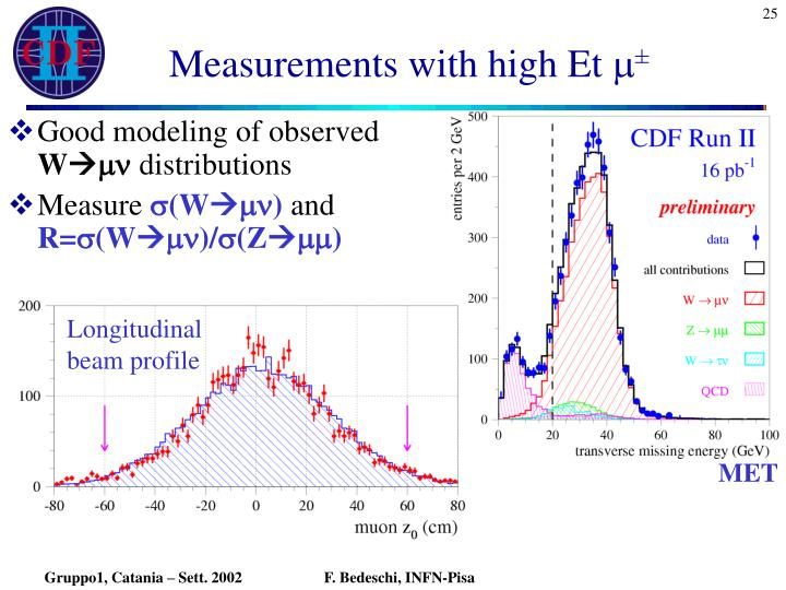 Measurements with high Et
