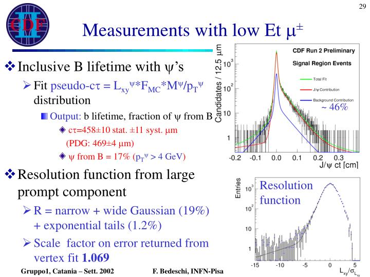 Measurements with low Et
