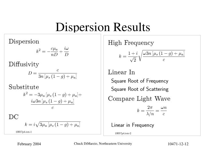 Dispersion Results