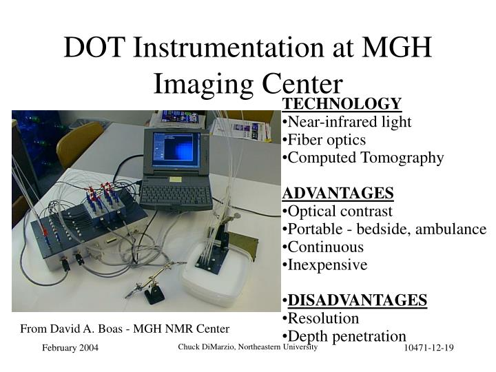 DOT Instrumentation at MGH Imaging Center