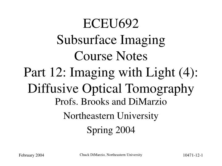 Eceu692 subsurface imaging course notes part 12 imaging with light 4 diffusive optical tomography