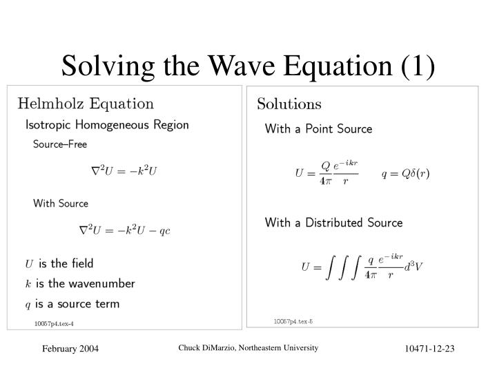 Solving the Wave Equation (1)