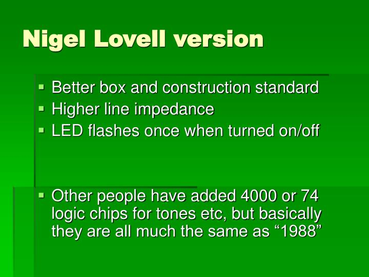Nigel Lovell version