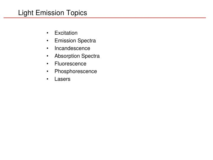 Light emission topics