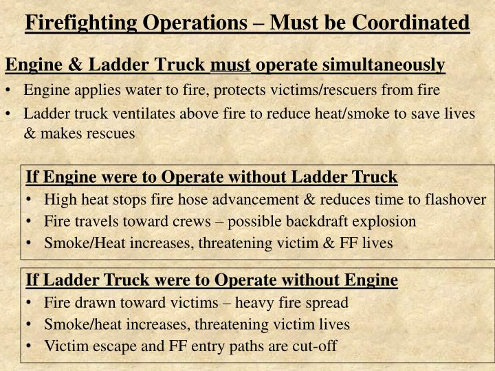 Firefighting operations must be coordinated