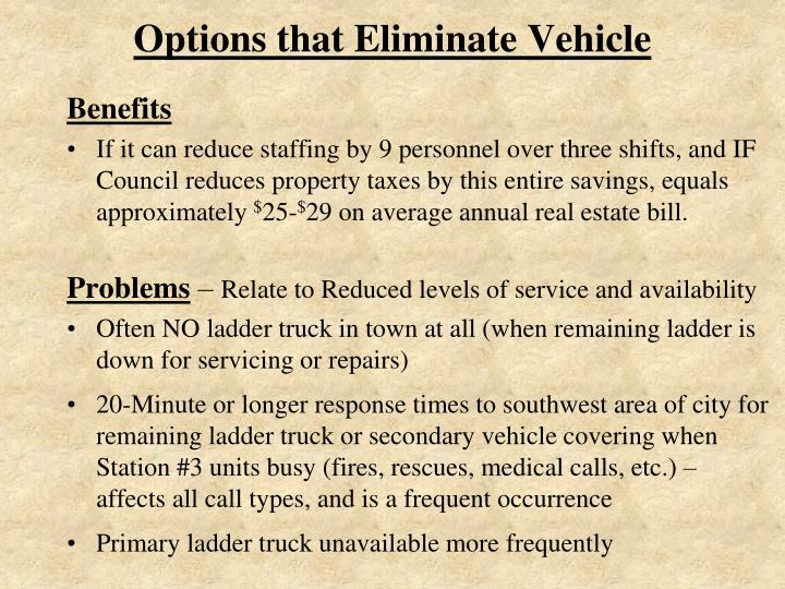 Options that Eliminate Vehicle