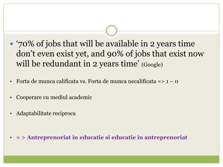 '70% of jobs that will be available in 2 years time don't even exist yet, and 90% of jobs that e...