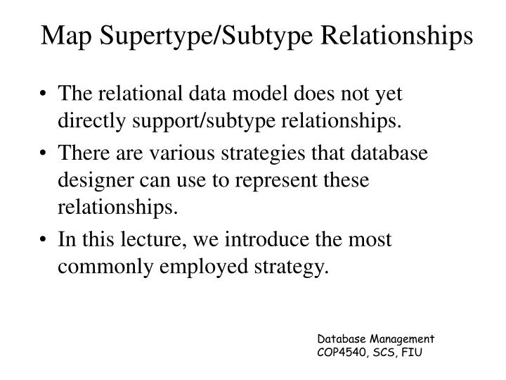 Map Supertype/Subtype Relationships