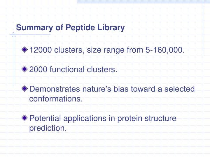 Summary of Peptide Library