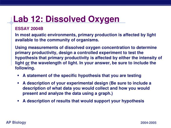 Lab 12: Dissolved Oxygen