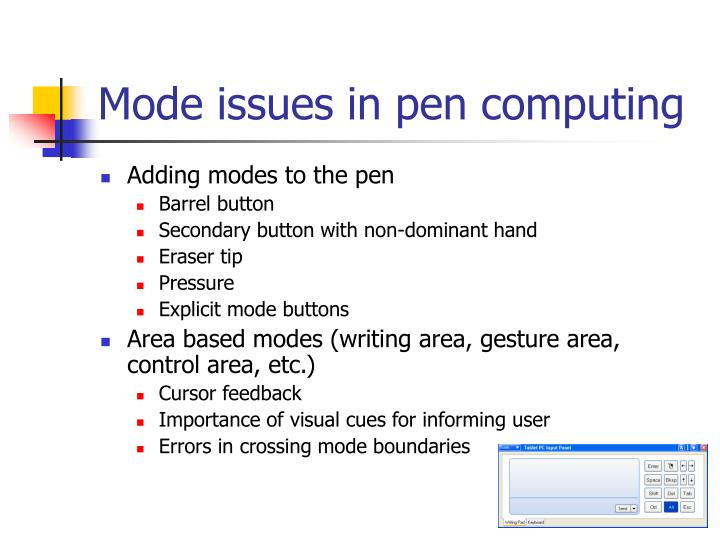 Mode issues in pen computing