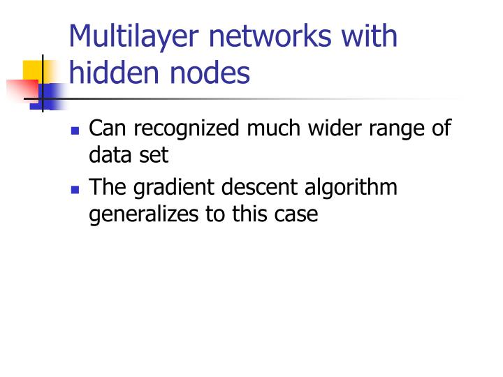 Multilayer networks with hidden nodes