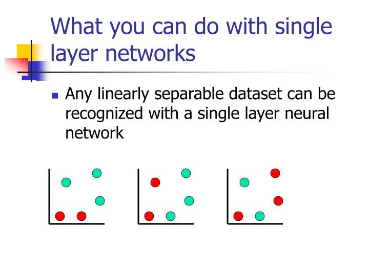 What you can do with single layer networks