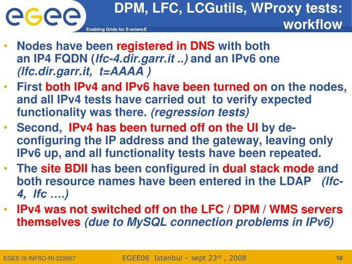 DPM, LFC, LCGutils, WProxy tests:
