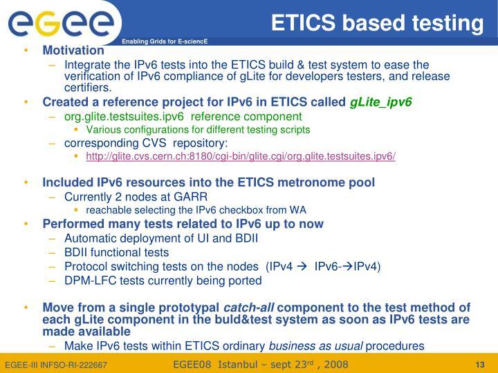 ETICS based testing