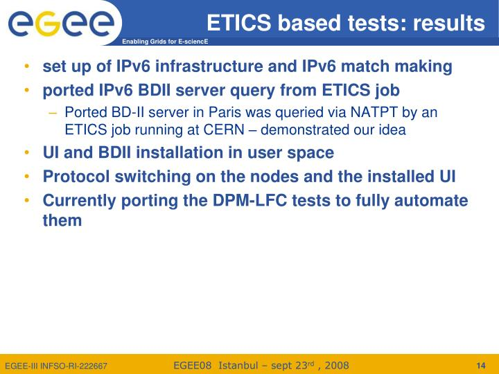 ETICS based tests: results