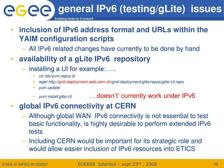 general IPv6 (testing/gLite)  issues
