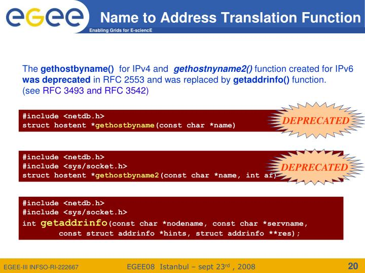Name to Address Translation Function