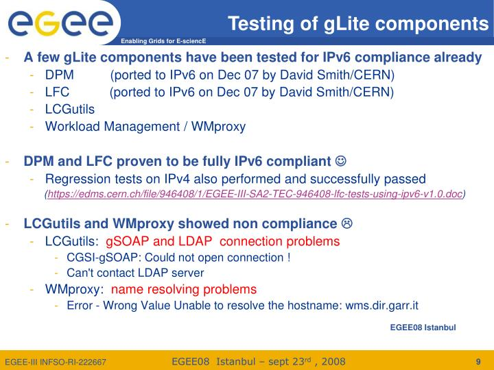 A few gLite components have been tested for IPv6 compliance already