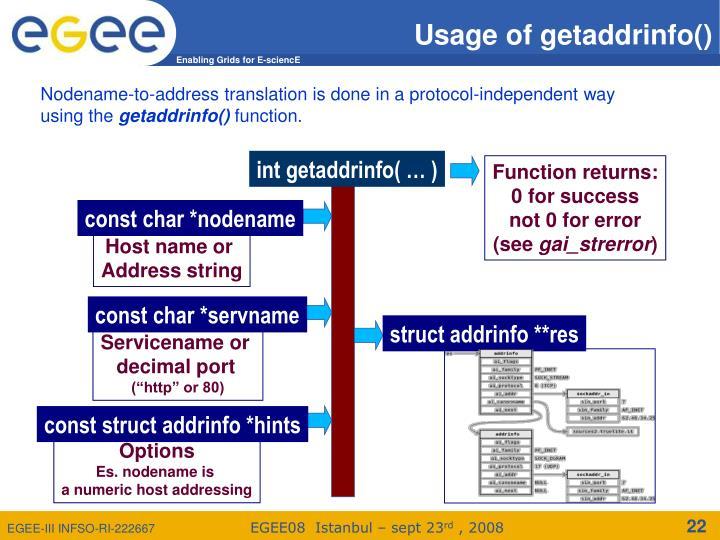 Usage of getaddrinfo()