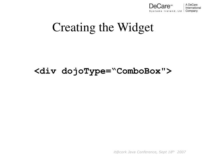 Creating the Widget