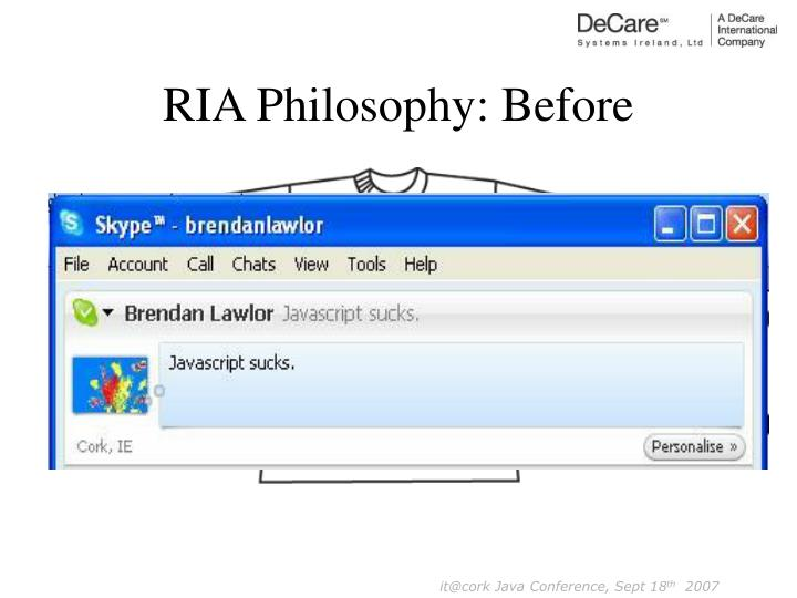 RIA Philosophy: Before