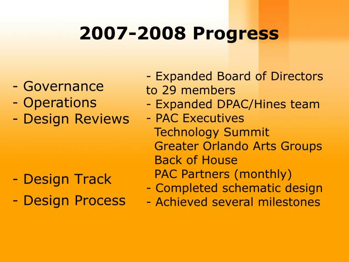 2007-2008 Progress