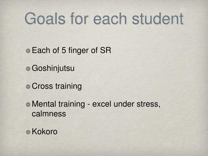 Goals for each student