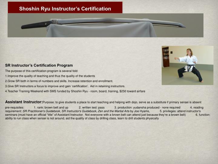 Shoshin Ryu Instructor's Certification
