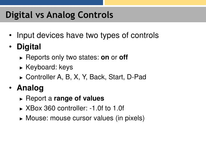 Digital vs Analog Controls