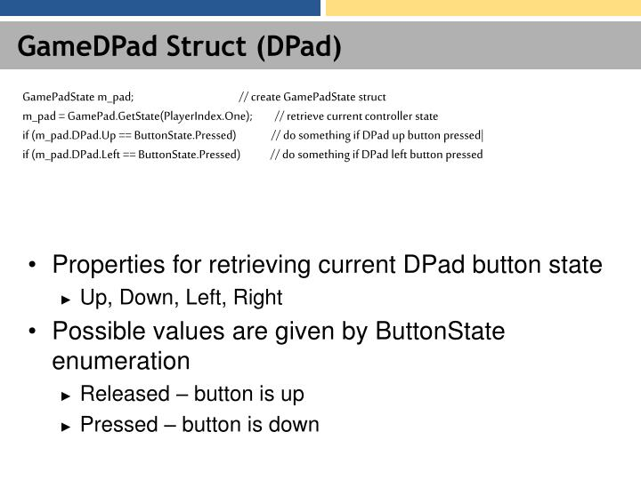 GameDPad Struct (DPad)