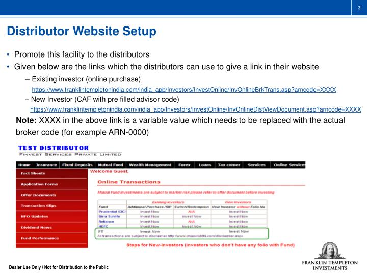 Distributor Website Setup
