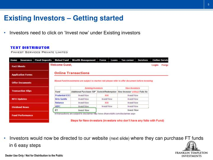 Existing Investors – Getting started