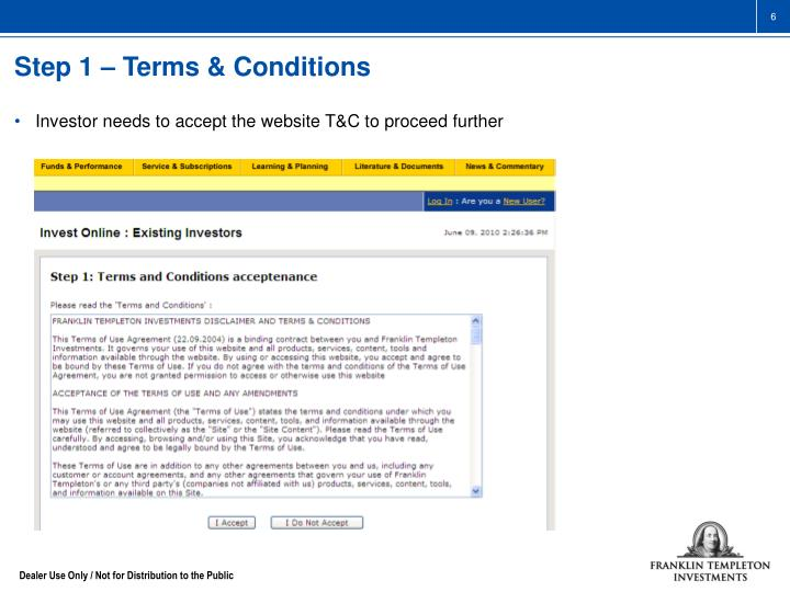 Step 1 – Terms & Conditions