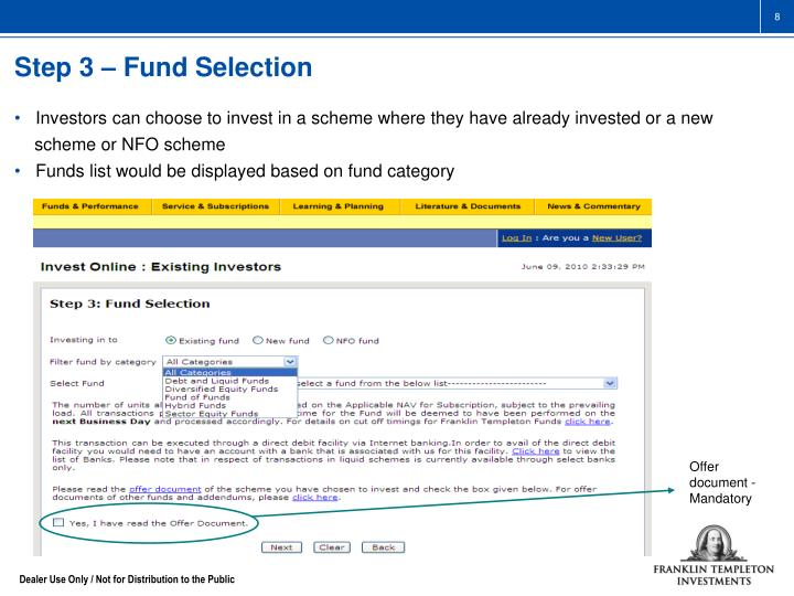 Step 3 – Fund Selection