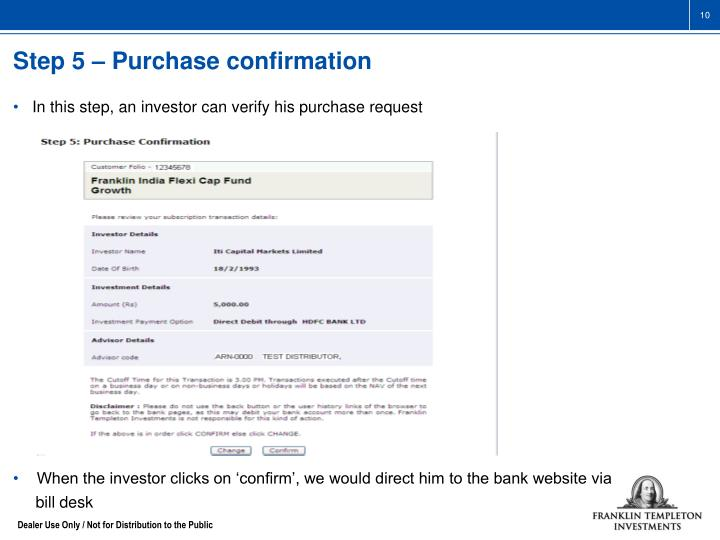 Step 5 – Purchase confirmation