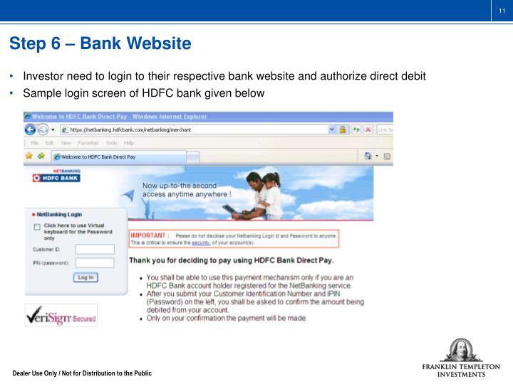Step 6 – Bank Website