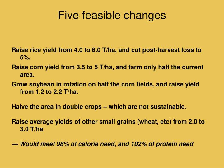 Five feasible changes