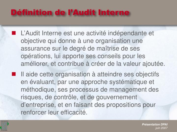 Définition de l'Audit Interne