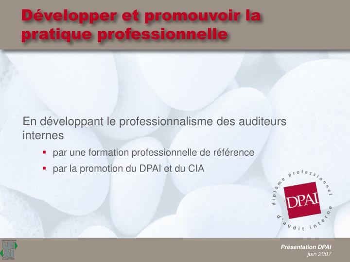 Développer et promouvoir la pratique professionnelle