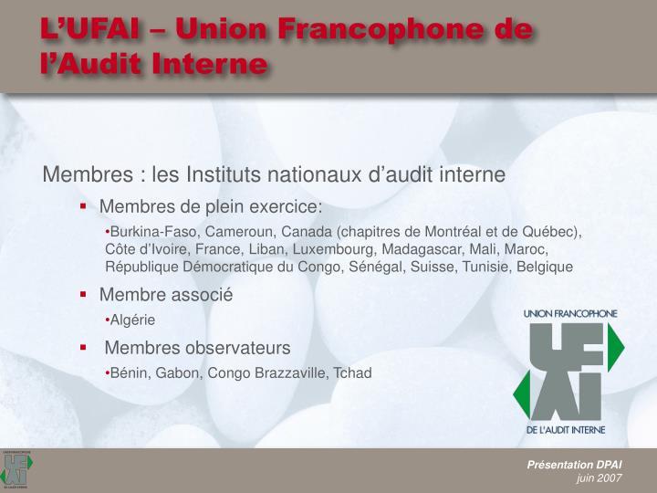 L'UFAI – Union Francophone de l'Audit Interne