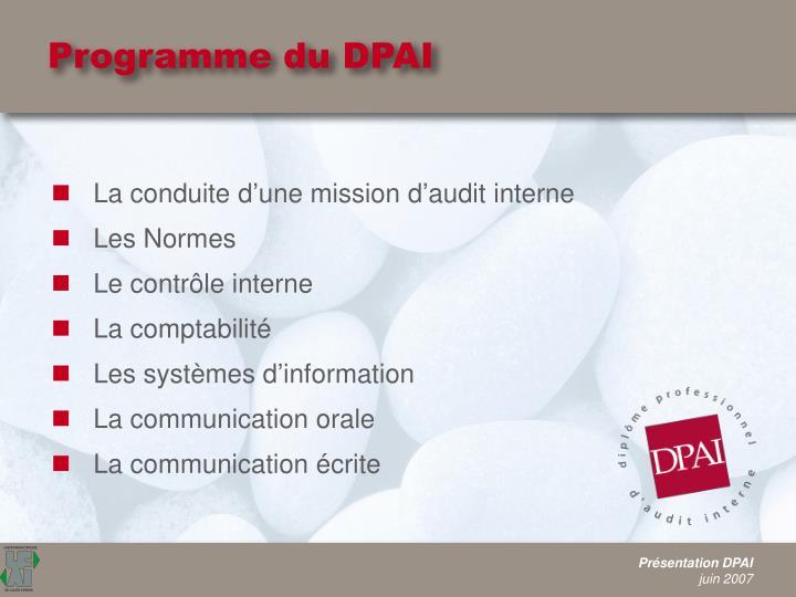 Programme du DPAI