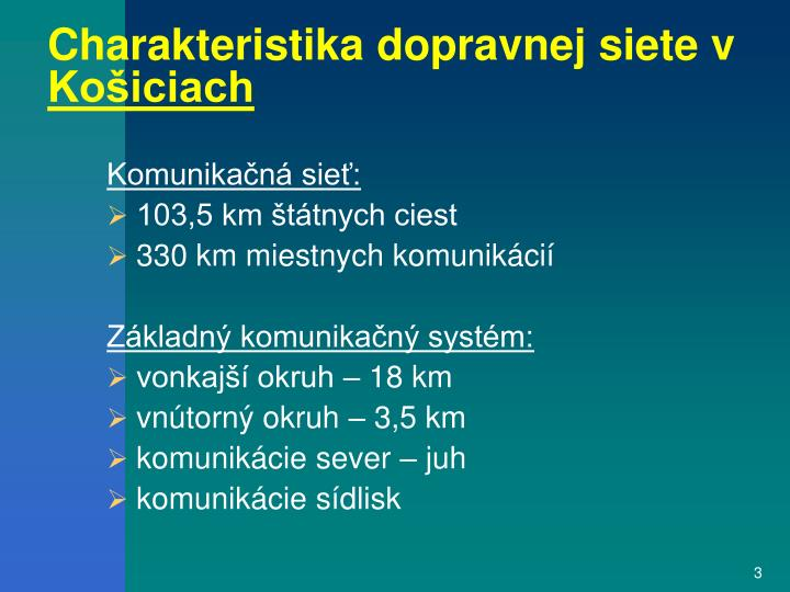 Charakteristika dopravnej siete v