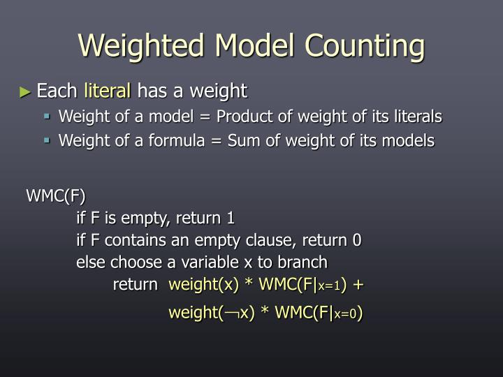 Weighted Model Counting